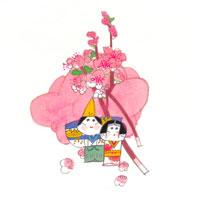 桃の花と雛人形 イラスト