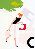 車で買い物をする女性 イラスト