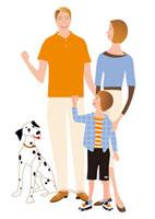 父母と男の子と犬