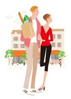 街のショッピングのカップル