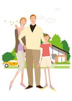 家の前の父母と女の子