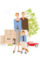 レンガの家の前の父母と男の子