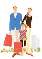 街へショッピングの父母と女の子