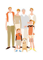 祖父母と父母と女の子と男の子と犬