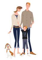 30代婦と男の子と犬