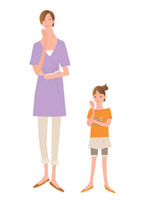 思案する母と娘