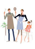 これから料理をしようとする父母と娘