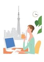オフィスからスカイツリーを見る女性