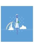 夏の商戦、女性と傘と贈り物 22342000157| 写真素材・ストックフォト・画像・イラスト素材|アマナイメージズ