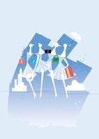 夏の商戦、女性4人と傘と贈り物