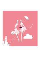 夏の商戦、女性2人と傘と贈り物