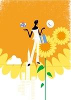 夏の商戦、女性と帽子と贈り物とひまわり