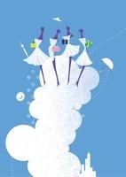 夏の商戦、女性4人と帽子と傘と贈り物と入道雲