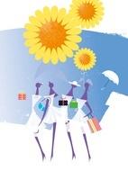 夏の商戦、女性4人と帽子と傘と贈り物と海とひまわり