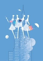 夏の商戦、女性4人と帽子と傘と贈り物とビル