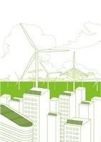 ソーラーパネルのビル群と風力発電
