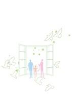 人と家と自然との共存 22342000195| 写真素材・ストックフォト・画像・イラスト素材|アマナイメージズ