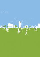 住宅街の街並みと人々