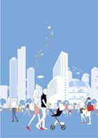 ショッピング街とショッピングする人々 22342000217| 写真素材・ストックフォト・画像・イラスト素材|アマナイメージズ