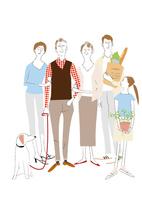 街中を買い物帰りに散歩する3世代ファミリー