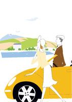 ドライブの途中湖畔で休憩するシニアカップル 22342000236| 写真素材・ストックフォト・画像・イラスト素材|アマナイメージズ