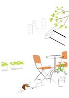 街のオープンカフェと寝ている犬 22342000239| 写真素材・ストックフォト・画像・イラスト素材|アマナイメージズ