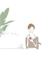 カフェでスマホする女性 22342000246| 写真素材・ストックフォト・画像・イラスト素材|アマナイメージズ