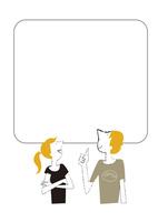 外国人の男女、パネルに会話 22342000262| 写真素材・ストックフォト・画像・イラスト素材|アマナイメージズ