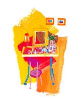 オレンジの壁とドレッサー イラスト