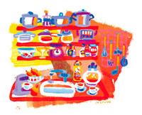 カラフルなキッチン イラスト