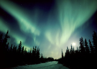 北極圏フォートユーコンにて、満月に舞うオーロラ