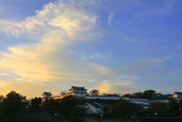 夕陽に輝く 姫路城 白鷺城 西の丸 世界文化遺産遺産