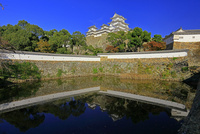 姫路城 白鷺城 大天守閣 三国堀 反映 塀 石垣 世界文化遺産遺産