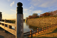 姫路城 白鷺城 桜門橋 城壁 お堀 夕陽 世界文化遺産遺産