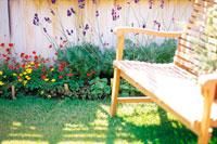 庭の花と椅子