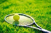 芝生のテニスボールとラッケト
