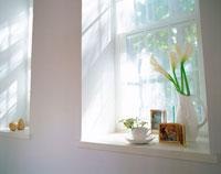 光が降り注ぐ白い出窓