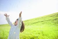 緑の草原でシャボン玉と笑顔の女の子