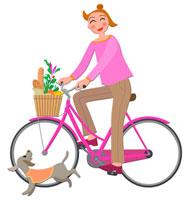 自転車で買物をする女性 CGイラスト