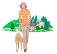 犬と散歩 CGイラスト