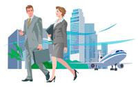 ビジネス街を歩く2人 CGイラスト