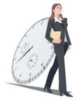 ビジネスウーマンと時計 CG 22370000145| 写真素材・ストックフォト・画像・イラスト素材|アマナイメージズ