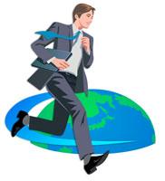 走るビジネスマンと地球 CG