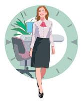 オフィスの女性とデスク CG
