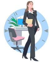 オフィスの女性とデスク CG 22370000150| 写真素材・ストックフォト・画像・イラスト素材|アマナイメージズ
