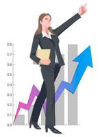 ノルマを達成したビジネスウーマン CG 22370000151| 写真素材・ストックフォト・画像・イラスト素材|アマナイメージズ