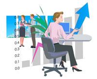 デスクワーク中の女性とグラフ CG