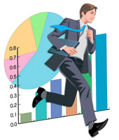走るビジネスマンとグラフ CG