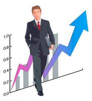 ビジネスマンとグラフ CG
