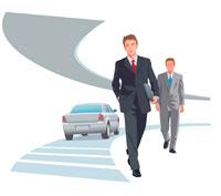 2人のビジネスマンと高速道路 CG